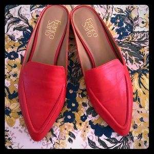 Franco Sarto orangey-red mules slides shoes 7 1/2